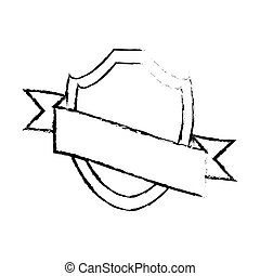 shield with ribbon emblem sketch