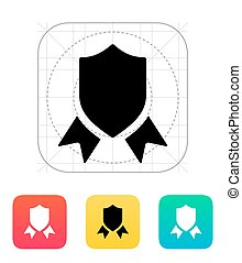 Shield with ribbon icon.