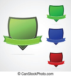 Shield with ribbon.