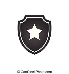 Shield with star, Vector illustration isolated on white background.