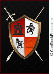 Shield with sword and spear.