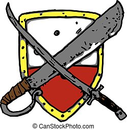 Shield With Weapon Vector