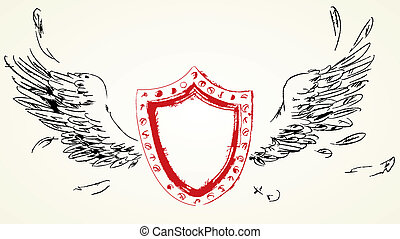 Shield with wings. Hand-drawn