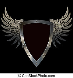 Shield with wings.