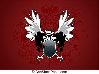 Shield with wings on dark red gradient background.