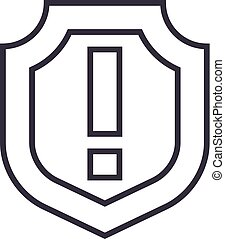 shield,important vector line icon, sign, illustration on...