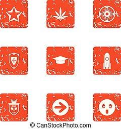 Shielding icons set, grunge style - Shielding icons set....