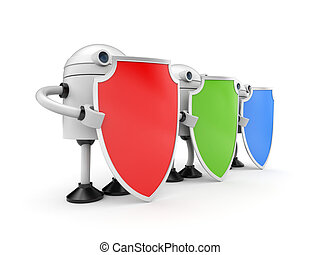 shields., 3d, trois, illustration, robots