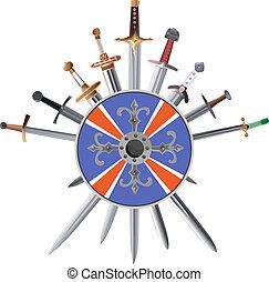 shields., crosswise, épées, croix