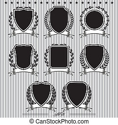 shields, laurel wreaths and ribbons - Insignia designs set...