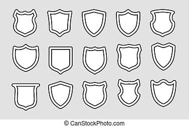 Shields outline badges
