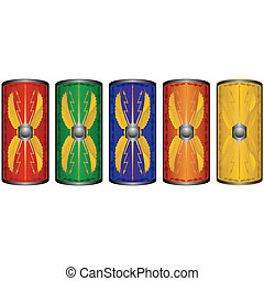 Shields ancient Roman legionaries. The illustration on a white background.