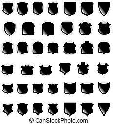 shields., vector, elementos, para, diseño