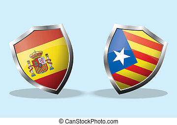 Shields with Flag of Spain and flag of Catalonia,concept...