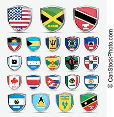 shields  with flags  of the countries of North America