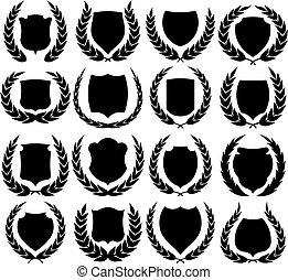 Shields wreaths vector illustration