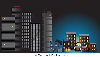 Office buildings downtown stay dark while suburban houses illuminated and full of people due the working from home trend, EPS 8 vector illustration