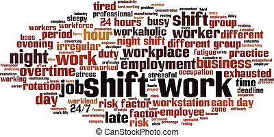 Shift work word cloud concept. Collage made of words about shift work. Vector illustration