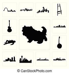 shih, jogo, boston, imagem, cena, banjo, paul, seattle, cidade, ilha, ícones, longo, crime, fundo, branca, skyline, carolina, kansas, les, corporal, skyline, tzu, sul