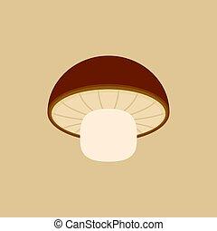Shiitake mushroom icon in flat design
