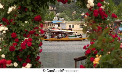 Shikara boat with tourists near flowered arch - Still long...