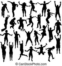 shilhouettes, ensemble, enfants, sauter