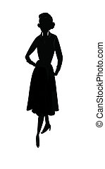 shilouette of fifties lady