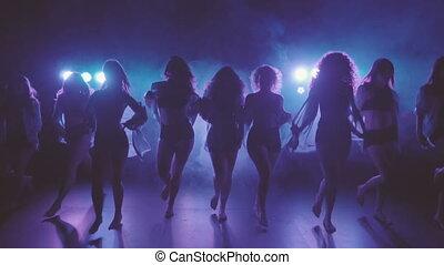 shilouettes, tancerze, grupa, samica