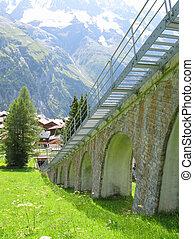 shilthorn, 山, 有名, muerren, 柵, リゾート, スキー, スイス人, 地域, 道