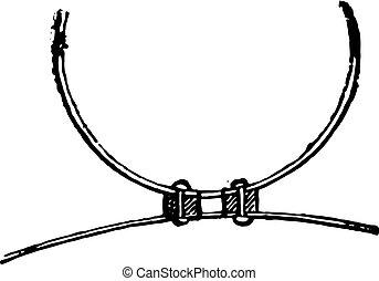 shim, 環状, engraving., 鉄, プレート, フランジ, 型, リベットで留められる, シリンダー