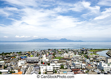 Shimabara city and sea - Shimabara city and other side of...