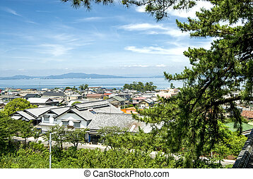 Shimabara city and sea viewed from side of the pine in Japan