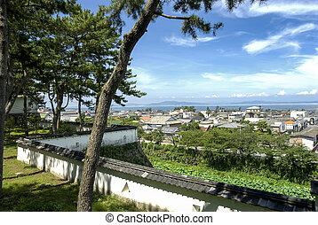 Shimabara city and sea viewed from castle wall of Shimabara...
