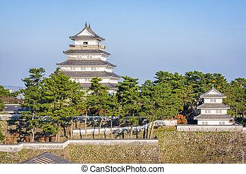 Shimabara, Japan castle keep and corner tower.