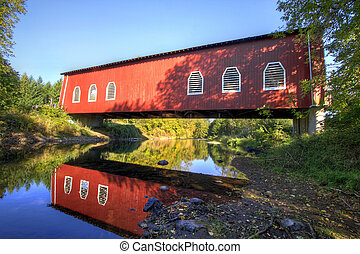Shimanek Red Covered Bridge over Thomas Creek Oregon