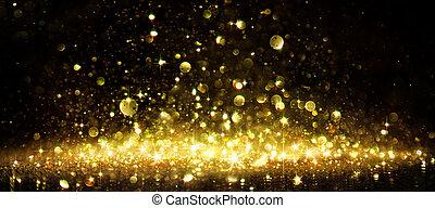 shimmer, van, gouden, schitteren, op, black