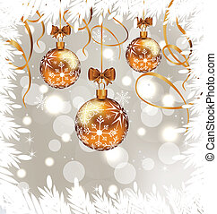 Shimmering background with Christmas balls