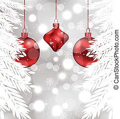 Illustration shimmering background with Christmas balls - vector