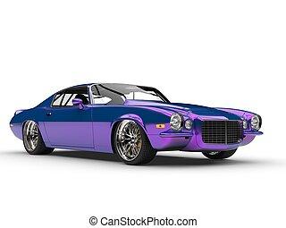 Shimmering metallic purple American vintage car