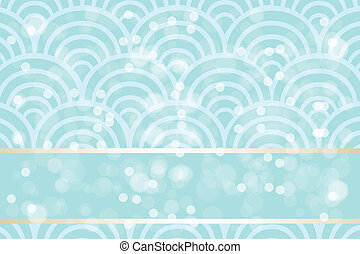 Shimmering summer background with blue waves, bubbles and banner for text - eps10 vectors