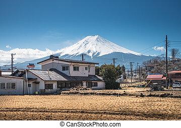 Shimoyoshida with Fuji mountain of Japan.