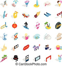 Shindig icons set, isometric style - Shindig icons set....