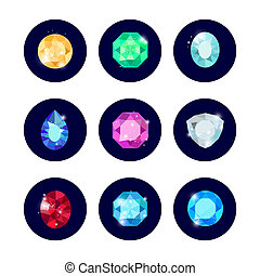 Shine diamond icons set