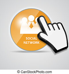 Shine glossy computer icon social network with mouse hand cursors vector illustration
