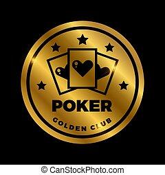 Shine golden poker label design. Golden vector casino icon