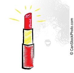 shine of red lipstick