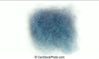 shine particles and firefly with splash waterdrop on pond at...