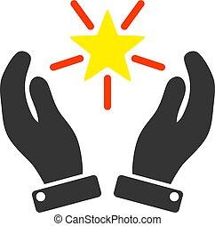 Shine Star Care Hands Vector Icon Flat Illustration
