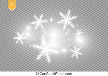 Shine white snowflake with glitter isolated on transparent...