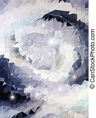 Shine white triangle pattern with line geometric shape
